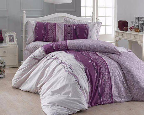 Комплект постельного белья First Choice Ранфорс 200x220 Neron Pudra, фото 2