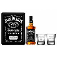 Виски Jack Daniel's (Джек Дэниэлс)  0,7L with 2 glasses in metal box