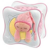 Оригинал. Ночник проектор детский радужный кубик Cube розовый Chicco 24301