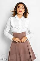 Однотонная хлопковая рубашка белого цвета с рюшами