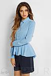 Офисная рубашка голубого цвета с баской, фото 2