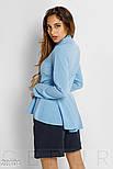 Офисная рубашка голубого цвета с баской, фото 3
