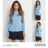 Офисная рубашка голубого цвета с баской, фото 4