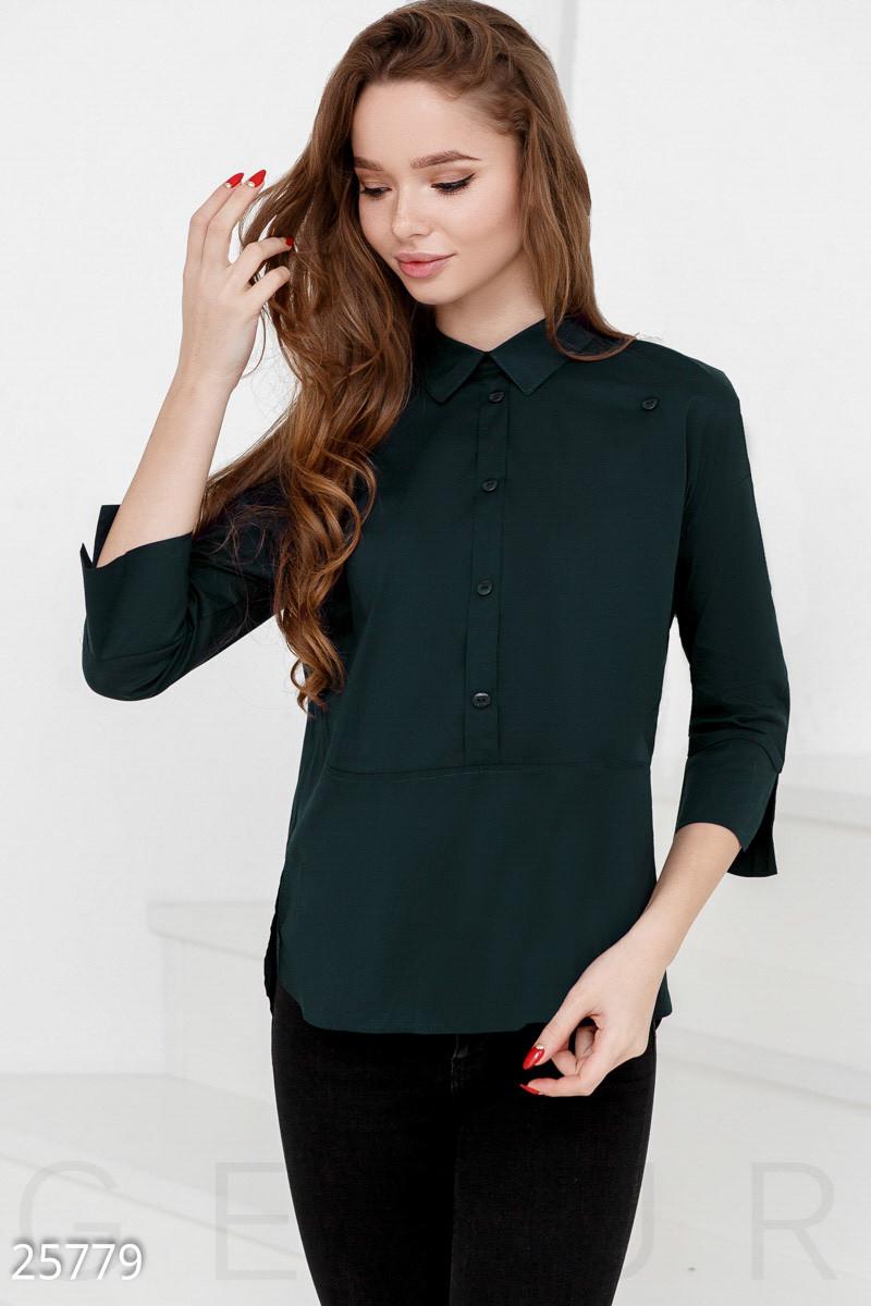 7cf176ccad0 Аккуратная женская рубашка темно-зеленого цвета с длинным рукавом большого  размера