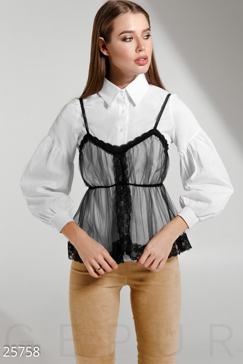 Трендовая белая рубашка со съемным топом и рукавом фонарик