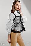 Трендовая белая рубашка со съемным топом и рукавом фонарик, фото 2