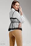 Трендовая белая рубашка со съемным топом и рукавом фонарик, фото 3