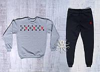 Мужской спортивный костюм на флисе, зимний костюм Louis Vuitton, Реплика