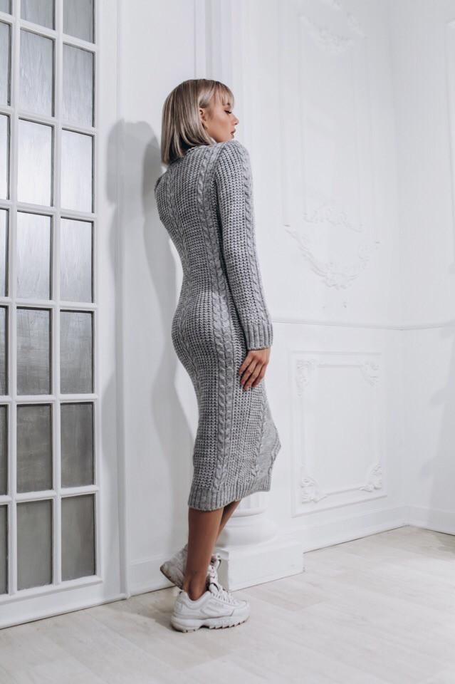 80edc62cdab Купить Вязаное длинное платье с высоким горлом 14032265 недорого в ...