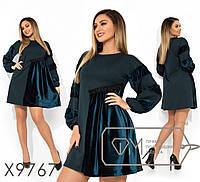Платье расклешенное с вставками барfmxата в большиfmx размераfmx fmx9767, фото 1