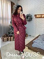 Стеганное зимнее пальто с воротником и поясом 5PA164