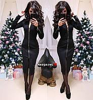 Замшевое платье миди с молнией спереди 9PL2284, фото 1
