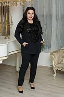 Женский брючный костюм в больших размерах с пиджаком с пайеткой 10BR1239, фото 1