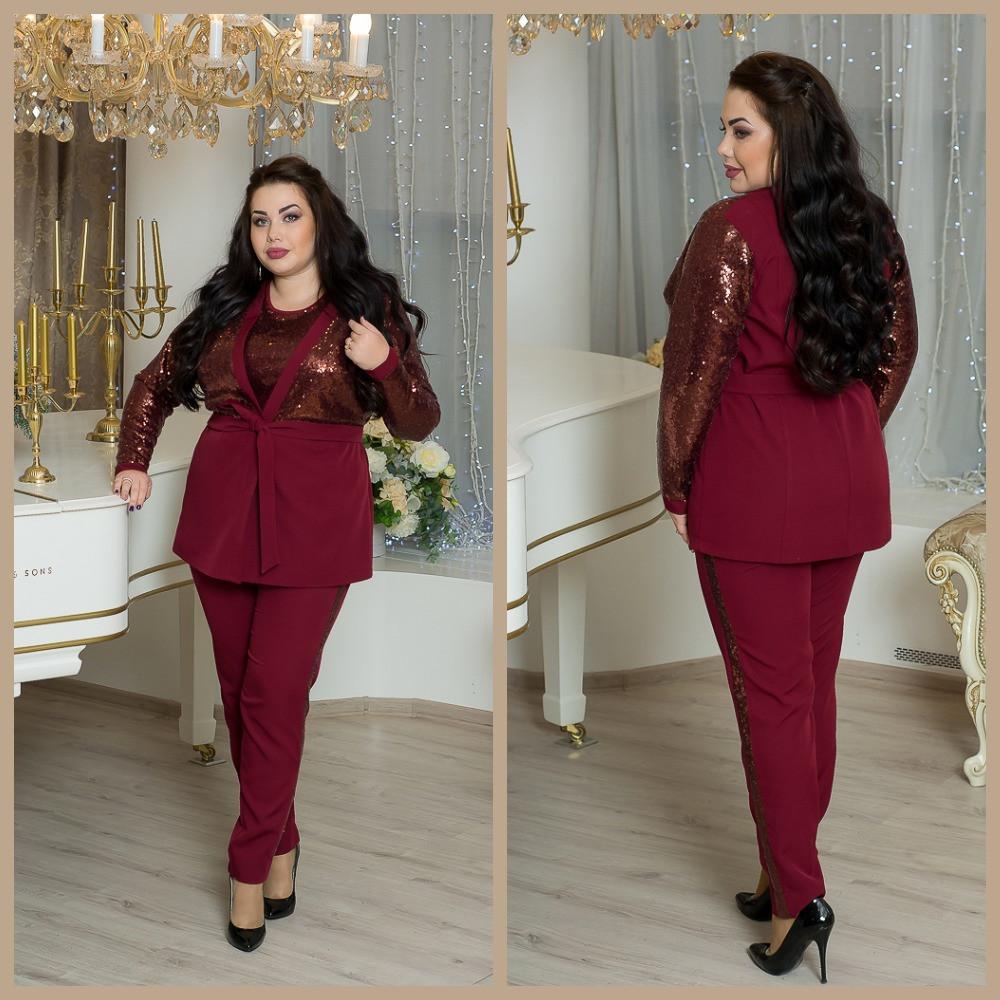 48b92b59622 Женский брючный костюм в больших размерах с кардиганом с пайеткой 10BR1240  - Интернет-магазин Tvid
