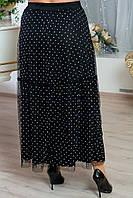 Длинная юбка в больших размерах с сеткой 10BR1242, фото 1