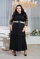 Платье длинное в больших размерах с сеткой сверху 10BR1243, фото 1