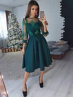 Зеленое платье миди с верхом из сетки с кружевом