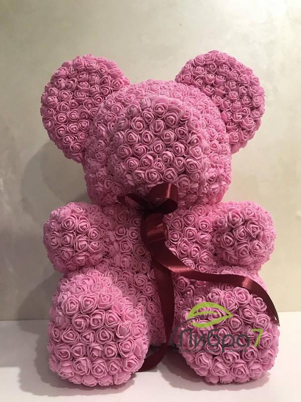 Мишка из роз розовый 40 см