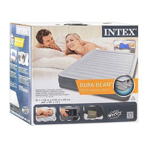 Надувная велюровая кровать Intex 67770 со встроенным насосом