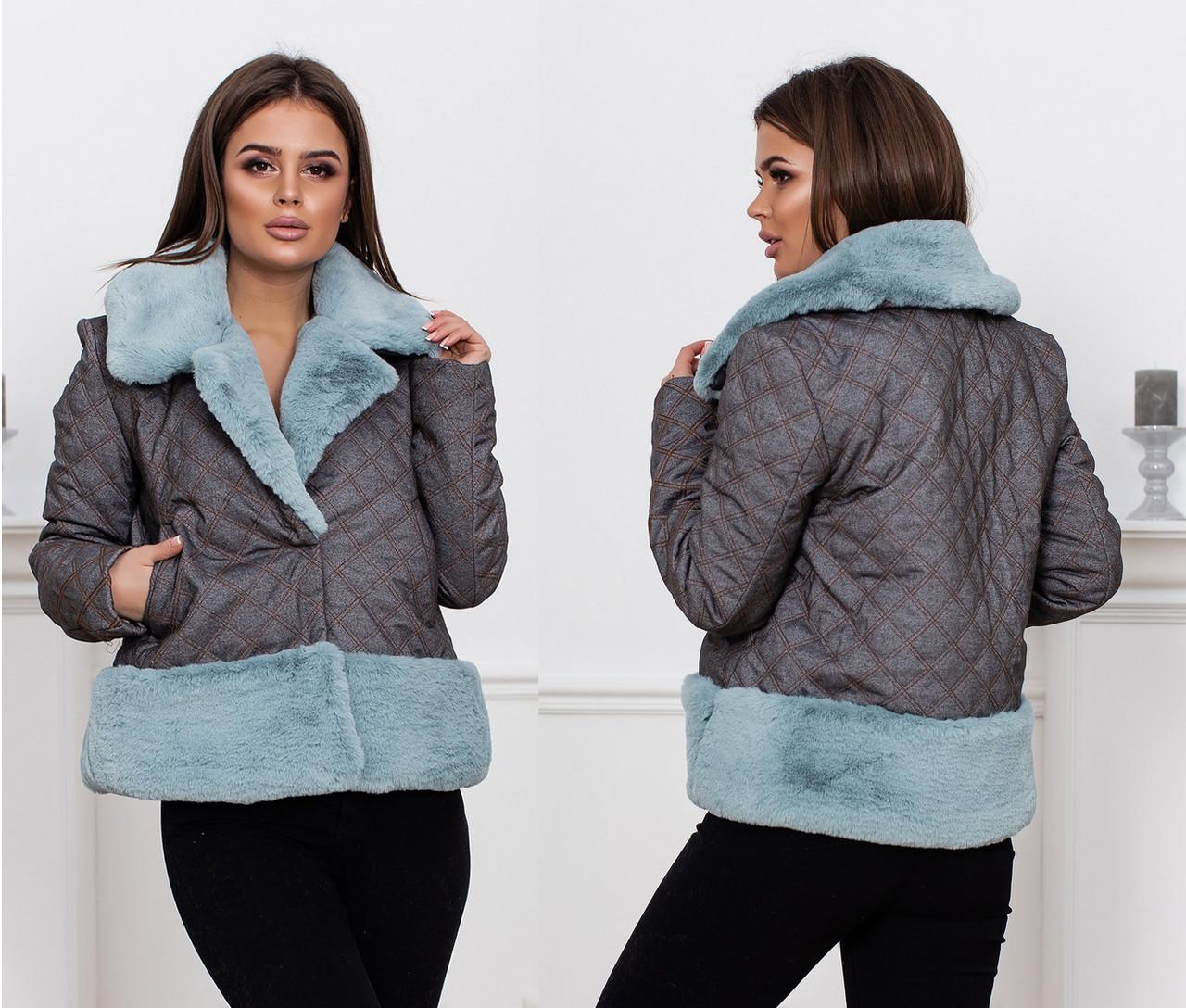 """Женская стильная тёплая куртка на синтепоне 5-664 """"Джинс Стёганка Мех"""""""