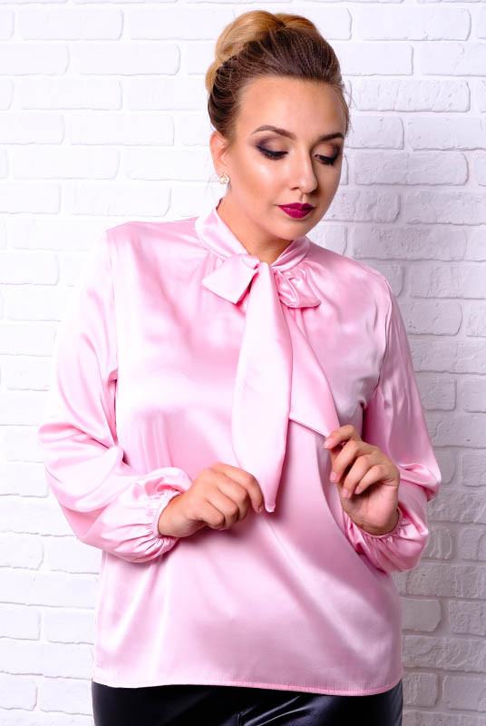 Розовая шелковая блузка Эмилия