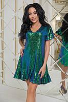Платье с пайеткой в расцветках 35046, фото 1