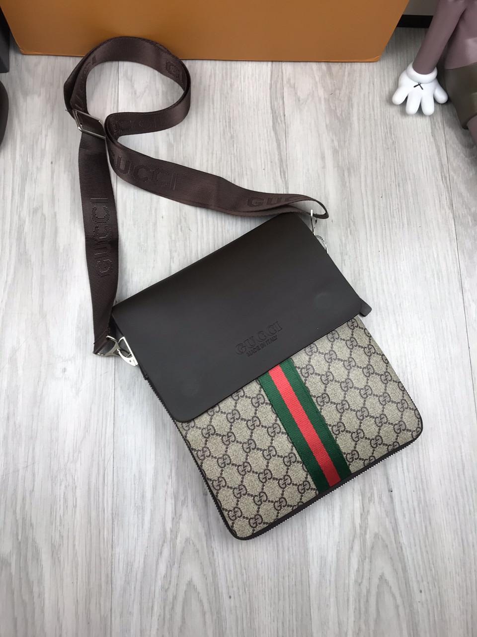 22873ebe4c4d Сумка мужская через плечо планшетка брендовая Gucci коричневая копия  высокого качества - AMARKET - Интернет-