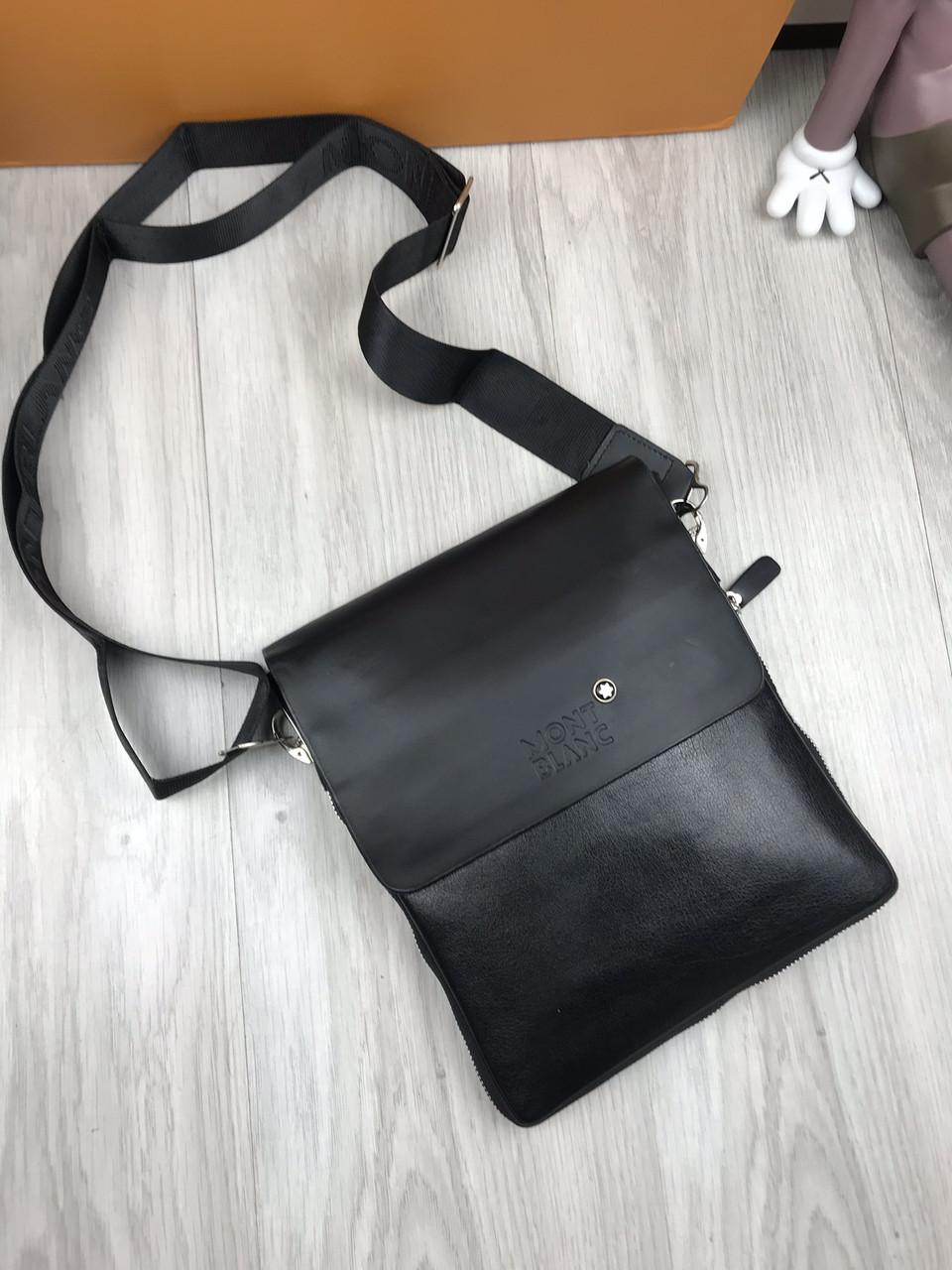 4286d6171627 Сумка мужская через плечо планшетка брендовая Mont Blanc черная копия  высокого качества