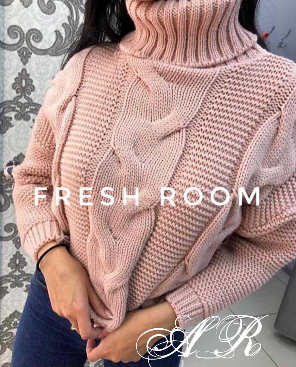 Объемный женский вязаный свитер, крупная машинная вязка