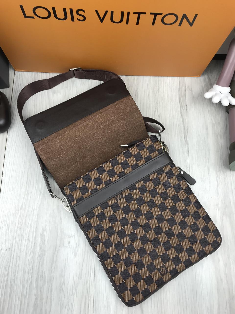 b623b5e5fece Сумка мужская через плечо планшетка брендовая Louis Vuitton коричневая  копия высокого качества, цена 1 200 грн., купить в Одессе — Prom.ua  (ID#838835566)
