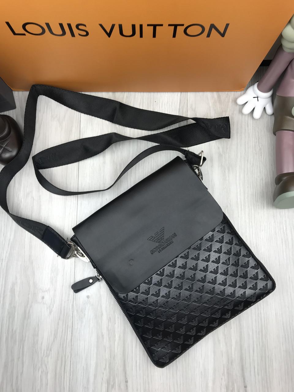3ec08a88cfc9 Сумка мужская через плечо планшетка брендовая Armani черная копия высокого  качества - AMARKET - Интернет-