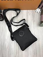 Сумка мужская через плечо планшетка брендовая Versace текстиль черная копия высокого качества