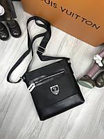 9a910ad5f55e Сумка мужская через плечо планшетка брендовая Philipp Plein черная копия  высокого качества