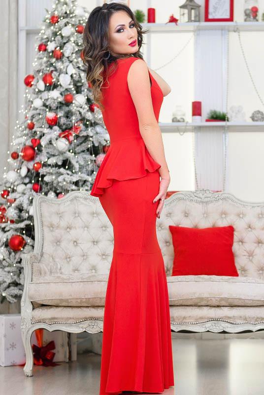 Красное длинное платье с баской Терра