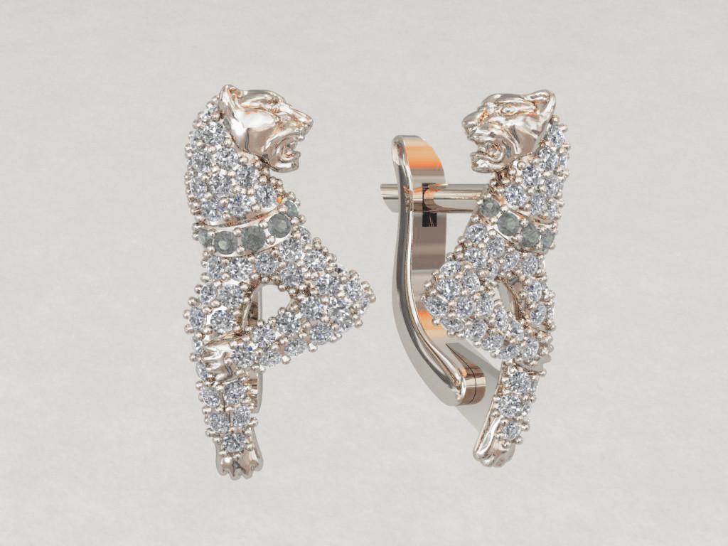 Серьги серебряные Пантера в камнях