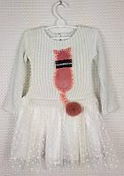 Нарядное платье на девочку Кошечка, размер 98-116, молочный