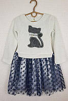 Нарядное платье на девочку Кошечка, размер 98-116, молочный+темно-синий