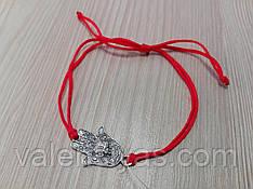 Браслетик - красная нить со вставкой Рука Фатимы