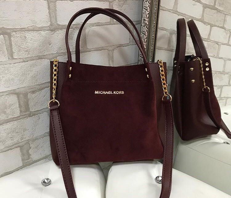 Женская сумка Michael Kors замшевая марсал