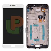 Дисплей для Meizu M3 Note (L681H) + тачскрин, белый, с передней панелью, 30 pin