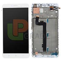 Дисплей для Xiaomi Mi Max /Mi Max Pro/Mi Max Prime + тачскрин, белый, с передней панелью