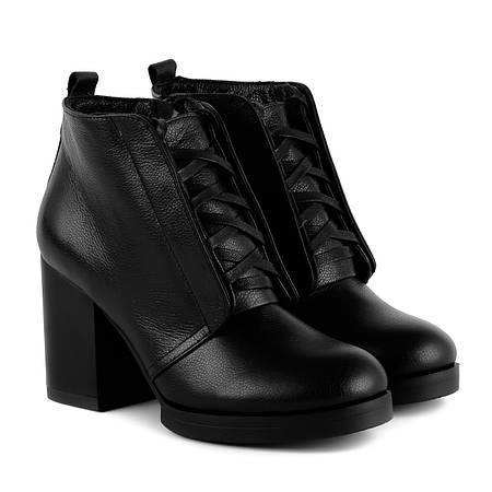 Ботинки женские Monroe (на широком каблуке, черные, кожаные, теплые,  стильные) ba8fd5ca52b