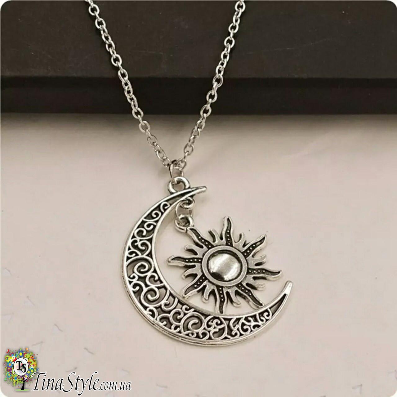 Подвеска кулон луна и солнце месяц Galaxy ожерелье Шарм античный