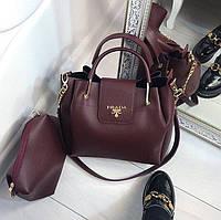 Женская сумка Prada марсал