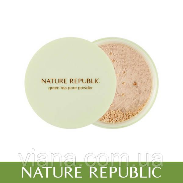 Рассыпчатая матирующая пудра NATURE REPUBLIC Botanical Green Tea Powder 5 gr