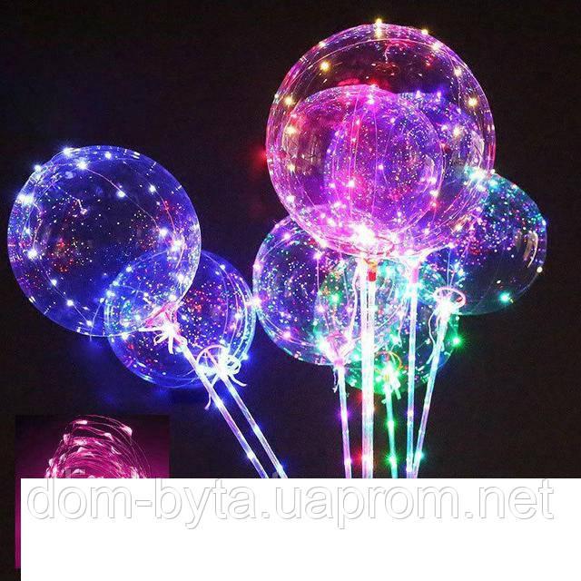 Воздушный светящийся прозрачный шарик c подсветкой Led на палочке 3 режима