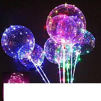 Воздушный светящийся прозрачный шарик c подсветкой Led на палочке 3 режима, фото 1