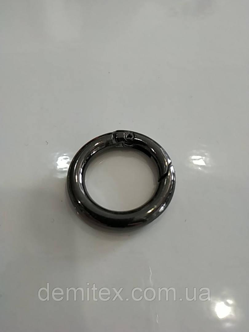 Кольцо-карабин блек-никель 20 мм