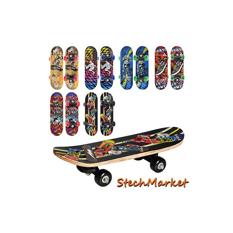 Скейт деревянный с пластиковой подвеской 6 видов