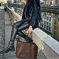 Сумка Louis Vuitton Neverfull Large коричневая в клеткукупить логотипы КОЖА, фото 1